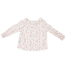 Mini Ruffled Bloom Wind Print Blouse - White/Pink