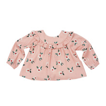 Mini Ruffled Bold Print Blouse - Pink