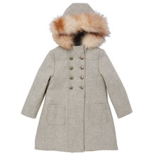 Heather Grey Coat with Hood and Fur Trim