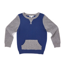 Two-tone Cashmere Sweater - Blue/Grey