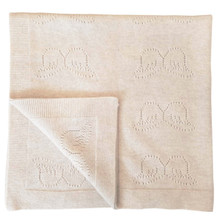 Pointelle Angel Wing Cashmere Blanket - Oatmeal