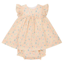 Allaire - Pink Cherry Tree print Dress with Bloomer - Pink Cherry Tree