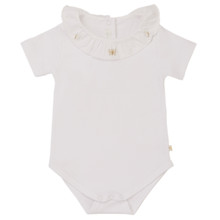 Alexandra - Ruffle Collar Onesie Butterfly Embroidery - White