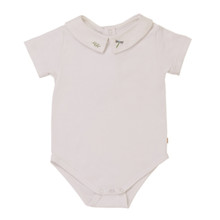 Alex - Shirt Collar Onesie Dragonfly Embroidery - White