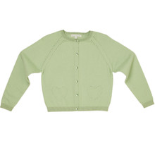 Amity - Pointelle Cardigan - Willow Green