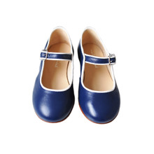 Flavia  - Piped Mary Jane - Navy/Off White