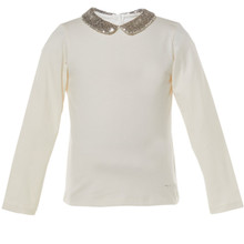 BURGUNDY - SEQUIN COLLAR T-SHIRT - CREAM
