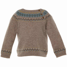 BILLY - CASHMERE FAIRISLE SWEATER - CHOCOLATE/TEAL