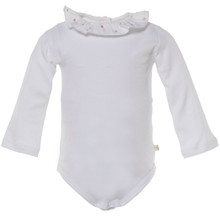 BAILA - RUFFLE COLLAR ONESIE WITH FLOWER EMBROIDERY - WHITE