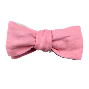 PINK LINEN REVERSIBLE BOW TIE (SELF-TIE)
