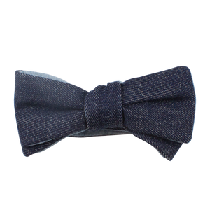 NAVY DENIM REVERSIBLE BOW TIE (SELF-TIE)