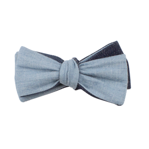 BLUE LINEN REVERSIBLE BOW TIE (SELF-TIE)