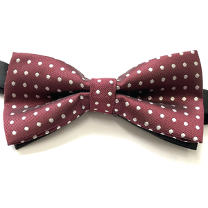 Maroon Polka Dot Bow tie (PRE-TIED)