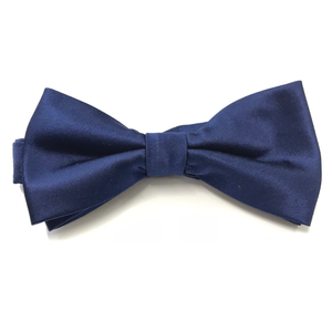 Dark Blue Satin Bow tie (PRE-TIED)