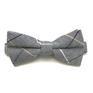 Grey Check Bow Tie (PRE-TIED)
