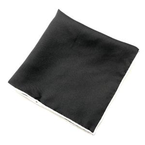 Black Silk Pocket Square (White Trim)