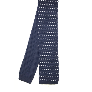Navy Polka Dot Square End Knitted Tie
