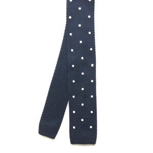 Navy Polka Dot Knit Tie (Square End)