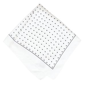 White & Black Polka Dot Silk Pocket Square