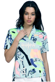 81128 - Cirque Print in dreamwalker- Short Sleeve Polo