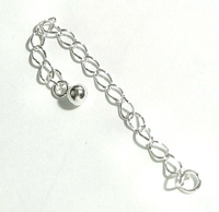 Sterling Silver 3mm Curb Chain Necklace Extender With Ball - 3 Inches (1)
