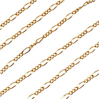 22K Gold Plated Figaro Chain 6.4mm x 2.8mm  Bulk By The Foot