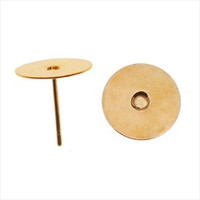 Gold Plated Flat 10mm Glue on Earring Posts 20 Pieces (10 Pairs)