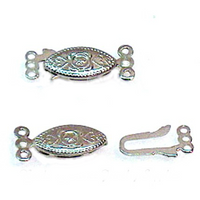 Silver Plated Filigree 3 Strand Clasp (3 Sets)