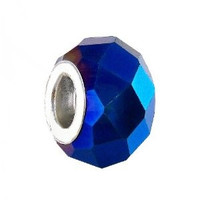 Faceted Glass Bead Fits Pandora 14mm Metallic Montana (1)