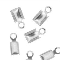 Silver Plated Foldover 7mm Cord Ends For Leather (x50)
