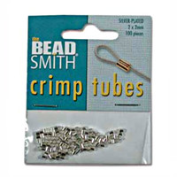 Silver Plated Crimp Beads 2x2mm (100)