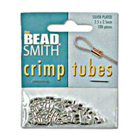 Silver Plated Crimp Beads 2.5x2.5mm (100)