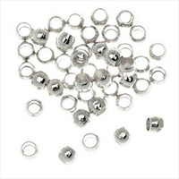 Silver Plated Crimp Beads 2.5mm x 3mm (50)