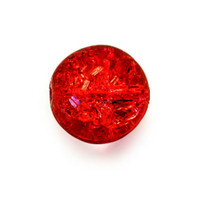 Czech Glass Druk 6mm Round Crackle Siam Ruby Red (50)