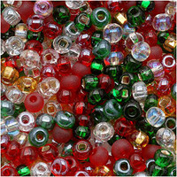 Czech Seed Beads 8/0 Deck The Halls Christmas Mix (1 ounce)