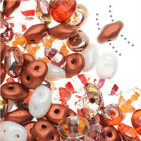 SuperDuo, Czech Glass 2-Hole Seed Beads 5.5x2.5mm, Autumn Fire Mix, 22 Grams,