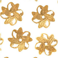 Bright Gold Plated Open Pinwheel Bead Caps 9mm (50)