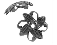 Gun Metal Plated Open Pinwheel Bead Caps 9mm (50)