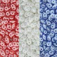 SuperDuo Czech Glass Seed Beads 2.5 x 5mm Pastel Red, White and Blue Mix - 72 Grams