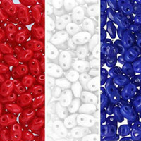 SuperDuo Czech Glass Seed Beads 2.5 x 5mm Red, White and Blue Mix - 72 Grams