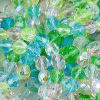 Czech Glass Fire Polish 8mm Spring Flowers Mix (50)