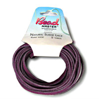 Genuine Natural Suede Leather Lace Cord 4mm Purple 5 Yards