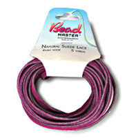 Genuine Natural Suede Leather Lace Cord 4mm Fuchsia 5 Yards