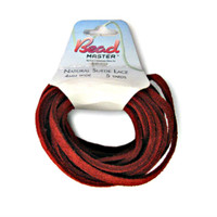 Genuine Natural Suede Leather Lace Cord 4mm Red 5 Yards