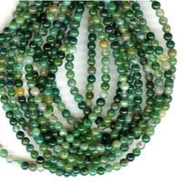 UnCommon Artistry Genuine Moss Agate Gemstone Beads 4mm Round