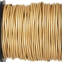 15 Ft of Metallic Gold Genuine Leather Cord Round 1mm Diameter