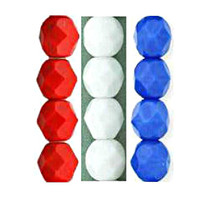 UnCommon Artistry Czech Glass Fire Polish 6mm Red, White and Blue  Patriotic Mix (75 pcs-25 pcs ea color)