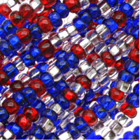 Czech Seed Beads 6/0 Patriotic Silver Lined Mix (1 ounce)