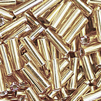 Czech Bugle Beads Size 5 Straw Gold Silver Lined (24 grams)