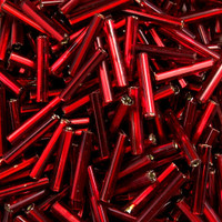 Czech Bugle Beads Size 5 Ruby Silver Lined (24 grams)